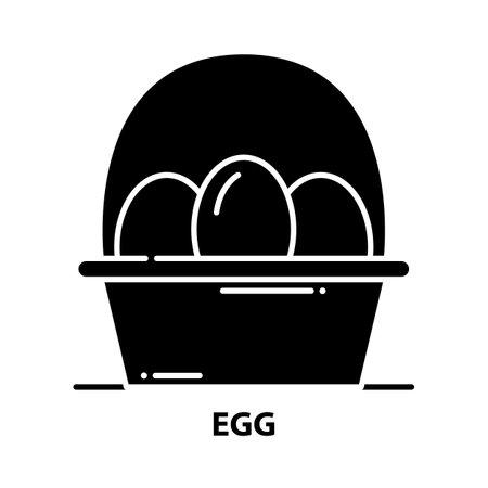 egg icon, black vector sign with editable strokes, concept illustration Векторная Иллюстрация