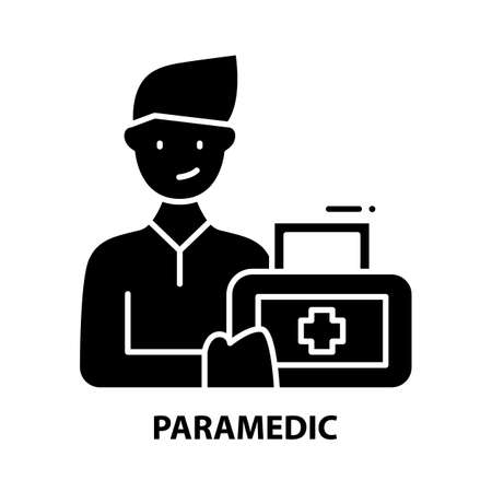 paramedic icon, black vector sign with editable strokes, concept illustration Vector Illustratie