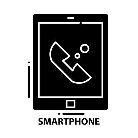 smartphone symbol icon, black vector sign with editable strokes, concept illustration