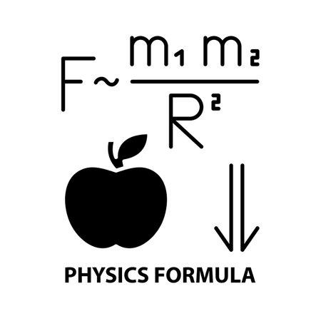 physics formula icon, black vector sign with editable strokes, concept illustration