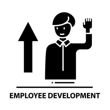 employee development icon, black vector sign with editable strokes, concept illustration