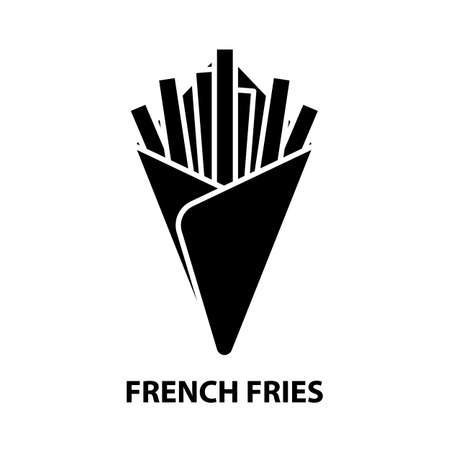 french fries symbol icon, black vector sign with editable strokes, concept illustration