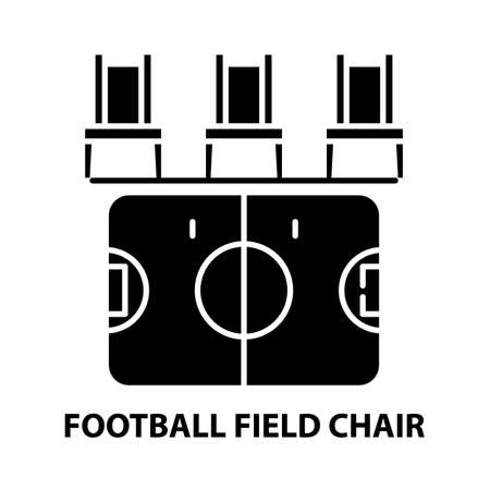 football field chair icon, black vector sign with editable strokes, concept illustration