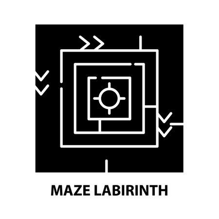 maze labirinth icon, black vector sign with editable strokes, concept illustration