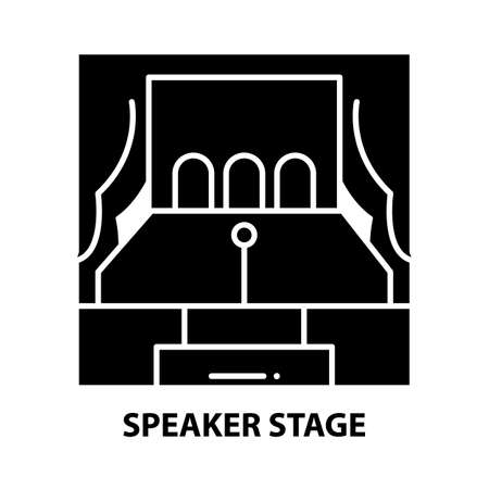 speaker stage icon, black vector sign with editable strokes, concept illustration