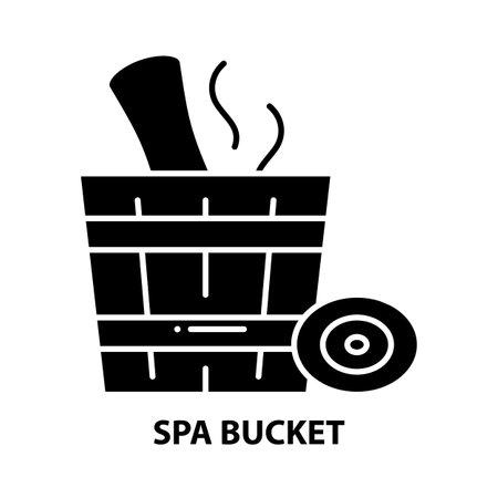 spa bucket icon, black vector sign with editable strokes, concept illustration