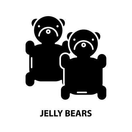 jelly bears icon, black vector sign with editable strokes, concept illustration