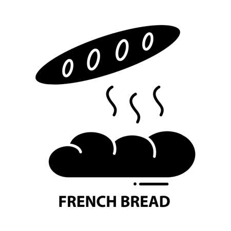 french bread icon, black vector sign with editable strokes, concept illustration