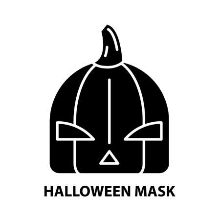 halloween mask icon, black vector sign with editable strokes, concept illustration