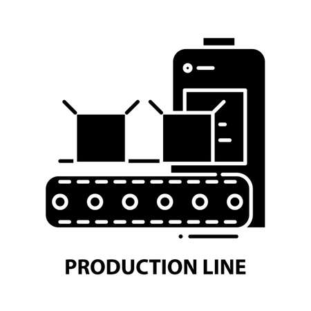 production line icon, black vector sign with editable strokes, concept illustration
