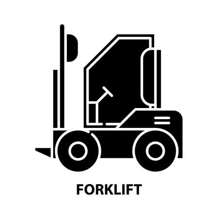 forklift symbol icon, black vector sign with editable strokes, concept illustration