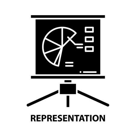 representation icon, black vector sign with editable strokes, concept illustration Stock Illustratie