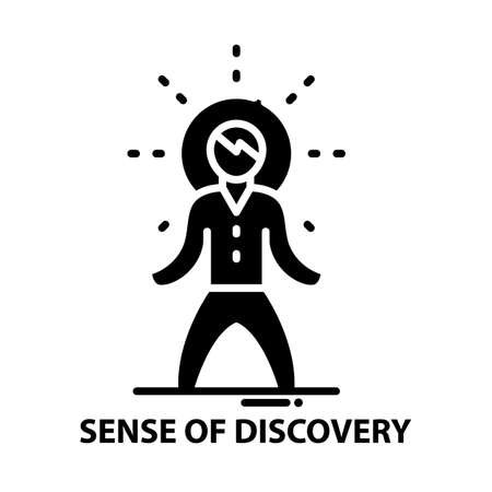 sense of discovery icon, black vector sign with editable strokes, concept illustration