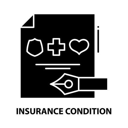 insurance condition icon, black vector sign with editable strokes, concept illustration