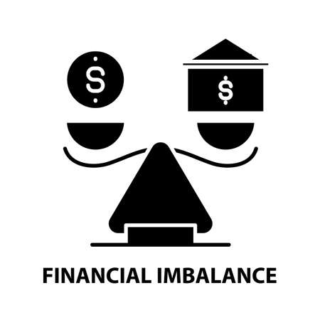 financial imbalance icon, black vector sign with editable strokes, concept illustration