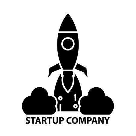 startup company icon, black vector sign with editable strokes, concept illustration