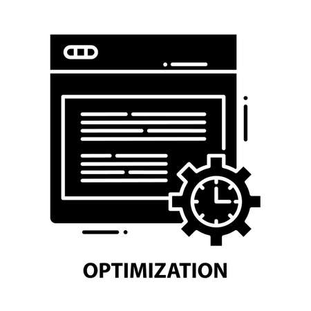 optimization icon, black vector sign with editable strokes, concept illustration