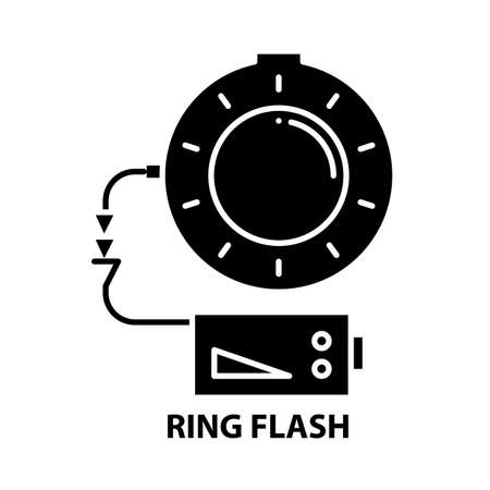 ring flash icon, black vector sign with editable strokes, concept illustration Çizim