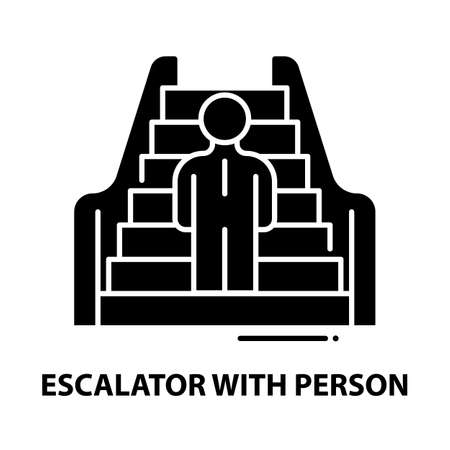 escalator with person icon, black vector sign with editable strokes, concept illustration