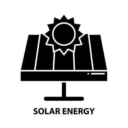 solar energy icon, black vector sign with editable strokes, concept illustration