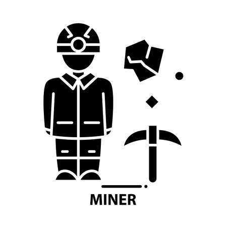 miner symbol icon, black vector sign with editable strokes, concept illustration