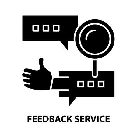 feedback service icon, black vector sign with editable strokes, concept illustration