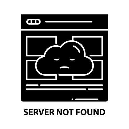 server not found icon, black vector sign with editable strokes, concept illustration