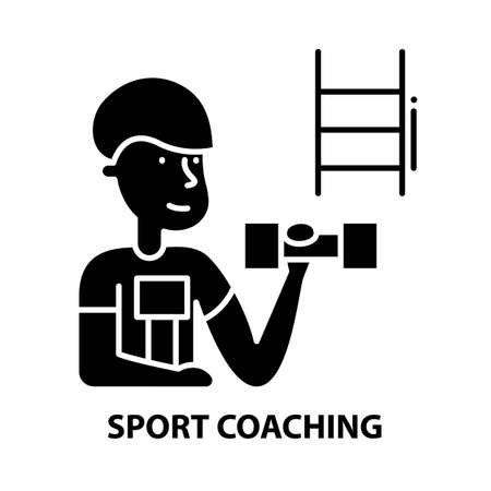sport coaching icon, black vector sign with editable strokes, concept illustration