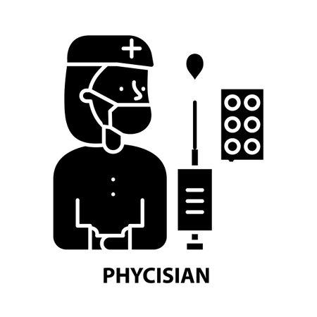 phycisian icon, black vector sign with editable strokes, concept illustration