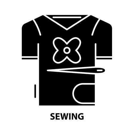 sewing icon, black vector sign with editable strokes, concept illustration