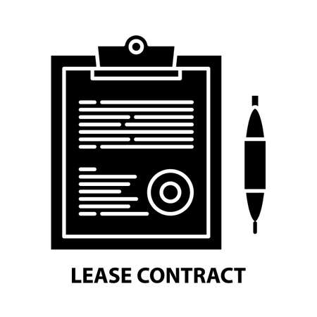 lease contract icon, black vector sign with editable strokes, concept illustration Stock Illustratie