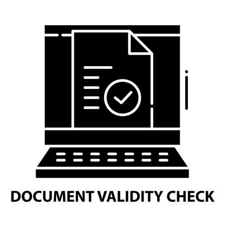 document validity check icon, black vector sign with editable strokes, concept illustration Ilustração