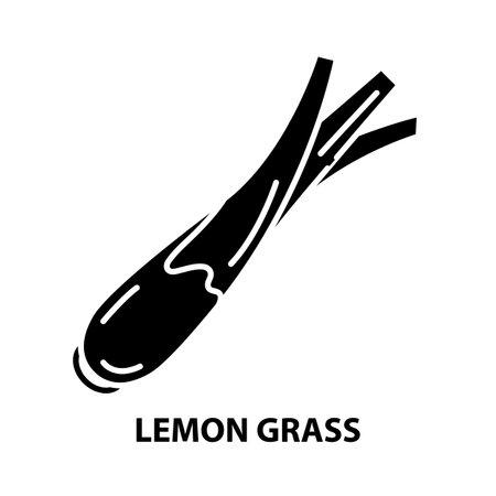 lemon grass icon, black vector sign with editable strokes, concept illustration