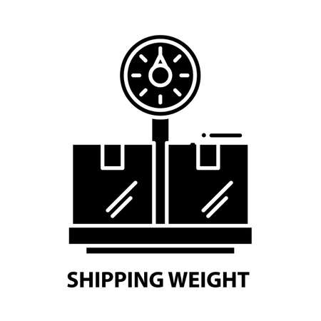 shipping weight icon, black vector sign with editable strokes, concept illustration