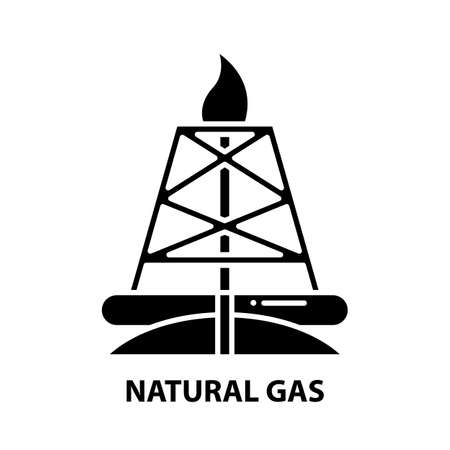 natural gas icon, black vector sign with editable strokes, concept illustration