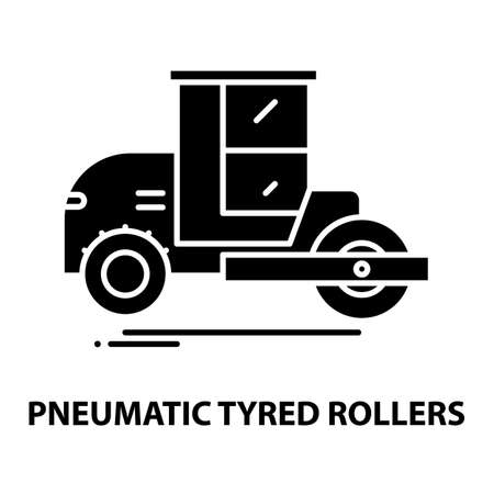 pneumatic tyred rollers icon, black vector sign with editable strokes, concept illustration