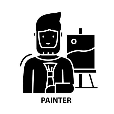 painter icon, black vector sign with editable strokes, concept illustration