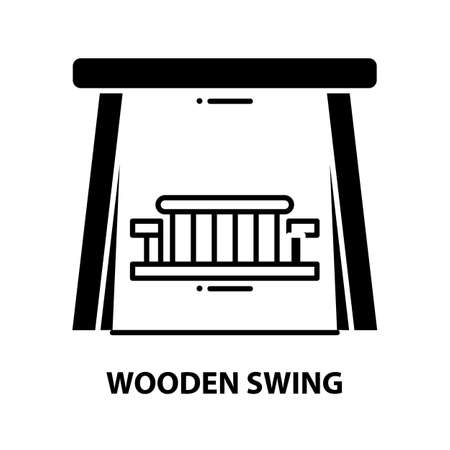wooden swing icon, black vector sign with editable strokes, concept illustration