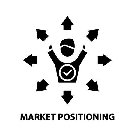 market positioning icon, black vector sign with editable strokes, concept illustration