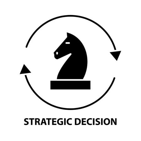strategic decision icon, black vector sign with editable strokes, concept illustration Vecteurs