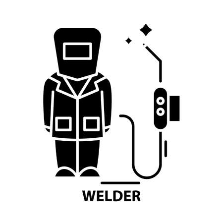 welder icon, black vector sign with editable strokes, concept illustration
