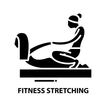 fitness stretching icon, black vector sign with editable strokes, concept illustration