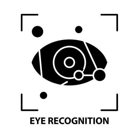 eye recognition icon, black vector sign with editable strokes, concept illustration