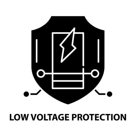 low voltage protection icon, black vector sign with editable strokes, concept illustration Stock Illustratie
