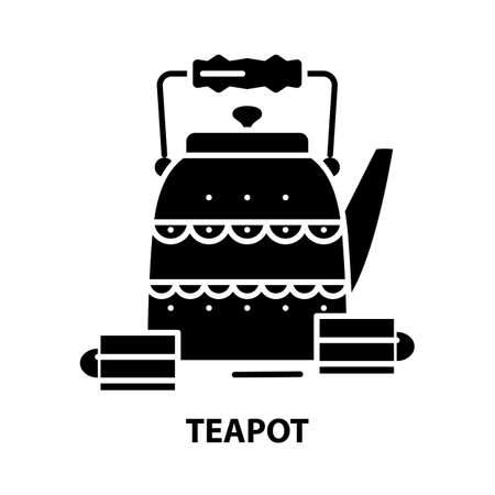 teapot icon, black vector sign with editable strokes, concept illustration