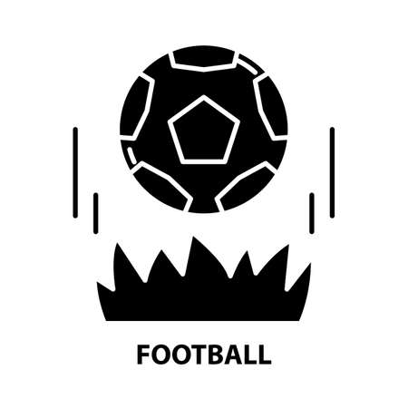 football icon, black vector sign with editable strokes, concept illustration