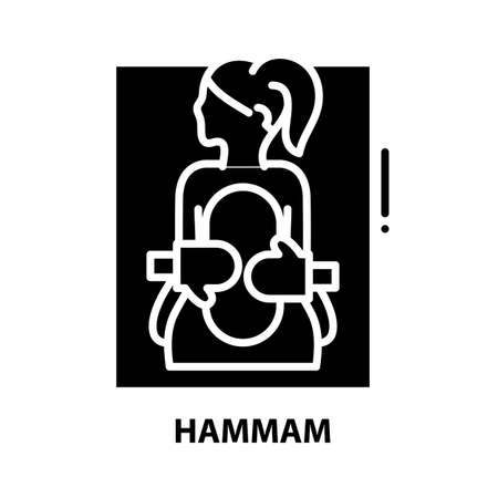 hammam icon, black vector sign with editable strokes, concept illustration