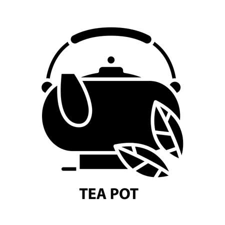 tea pot icon, black vector sign with editable strokes, concept illustration