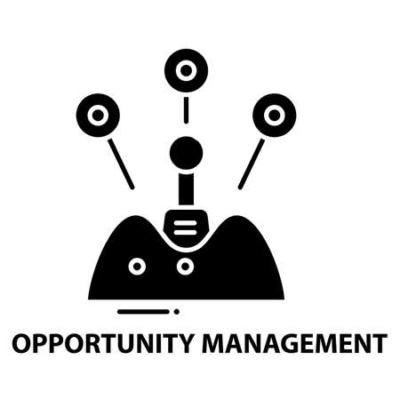 opportunity management icon, black vector sign with editable strokes, concept illustration