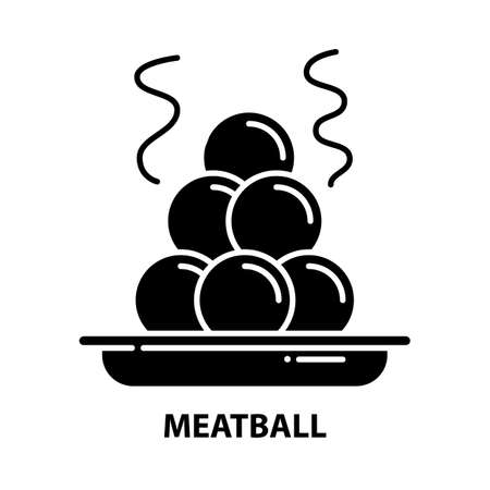 meatball icon, black vector sign with editable strokes, concept illustration